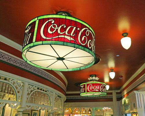 Ceiling Coca Cola light fixtures in Refreshment Corner or Coke Corner on Main Street USA in Disneyland