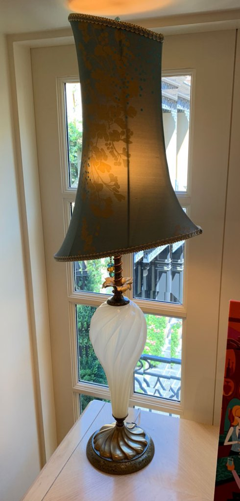Modern looking table lamp and shade in Disneyland Club 33