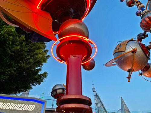 Neon light fixture at Astro Orbitor in Tomorrowland Disneyland