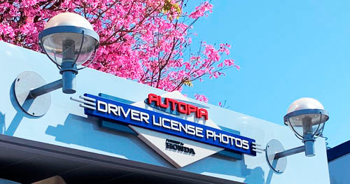 Two futuristic domed light fixtures at Autopia in Tomorrowland Disneyland CA