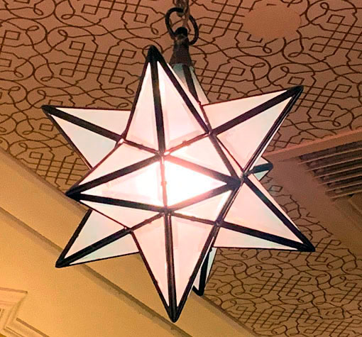 Star shaped Light fixture in Carthay Circle at Disney California Adventure in Anaheim CA