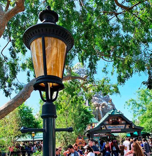 Light fixture on lamppost near Matterhorn Bobsleds in Disneyland