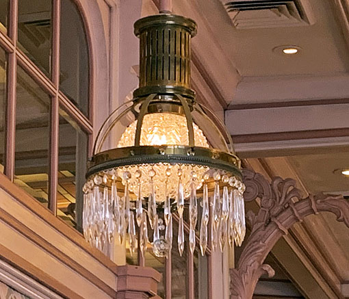 Vintage glass chandelier in Crystal Arcade on Main Street USA in Disneyland California