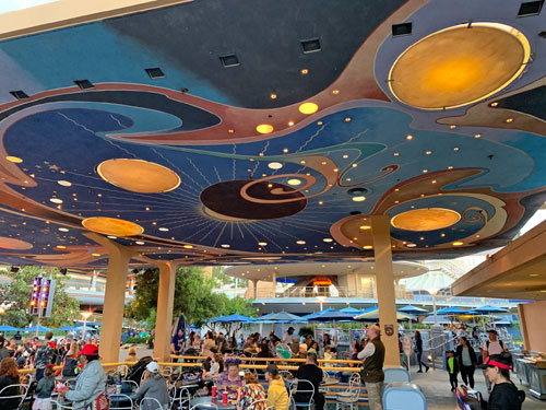 Galactic Grill space themed eating area in Disneyland California