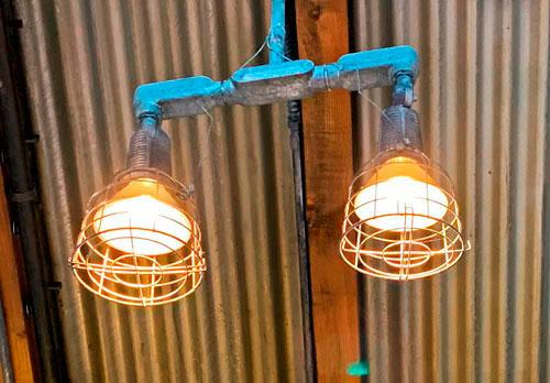 Twin light fixtures at Humphrey's Service And Supplies in Disney California Adventure Park Disneyland