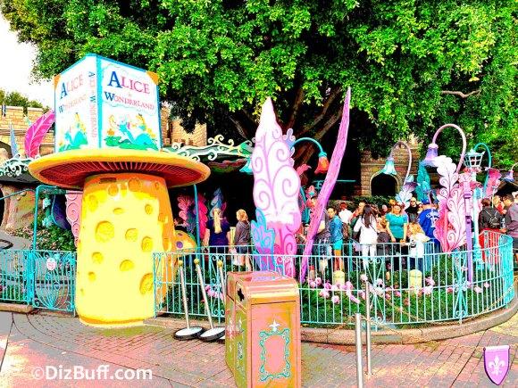 Original mushroom shaped Ticket Booth for Alice in Wonderland attraction in Fantasyland Disneyland