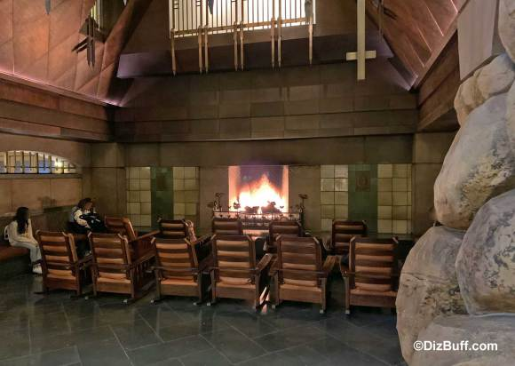 Closeup of massive fireplace in Disney Grand Californian Hotel and Spa