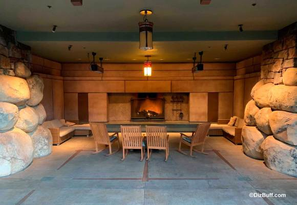 Closeup of Backside or outside view of fireplace in Disney Grand Californian Hotel and Spa
