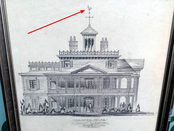 Concept drawing of Haunted Mansion by Marvin Davis for Disneyland California