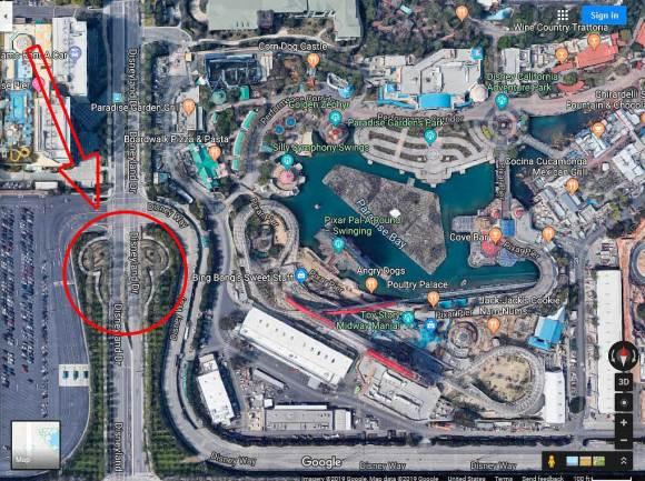 Arrow pointing to largest hidden Mickey in Disneyland Anaheim CA