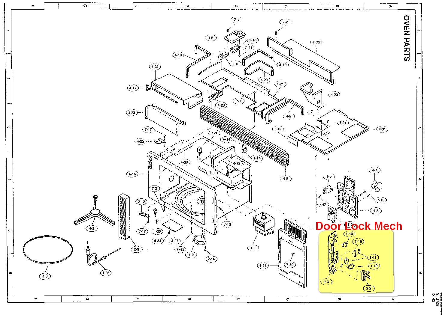 SHARP CAROUSEL II R-1420 Microwave DOOR LATCH LOCK Switch
