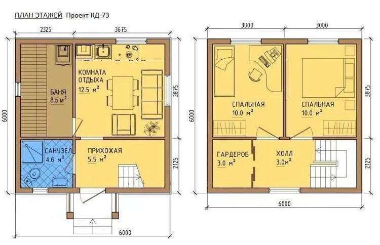 Proyecto de la casa Dachka 6 a 6 con un baño.