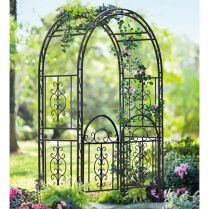 35+ Top Guide Of Metal Garden Arbor Trellis With Gate Scroll Design Arch Climbing Plants 191