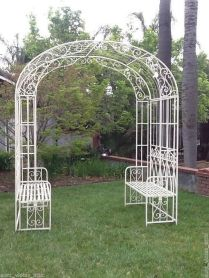 35+ Top Guide Of Metal Garden Arbor Trellis With Gate Scroll Design Arch Climbing Plants 29