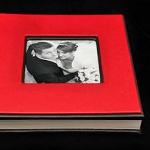 03.CAlbum Digital Nunta 30x30 cm. Piele ecologica alba + gri floral + fotografie