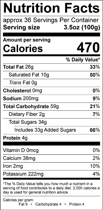 Hershey Kiss Nutrition Facts Label : hershey, nutrition, facts, label, Hershey, Kisses, Nutrition, Label, Labels, Database