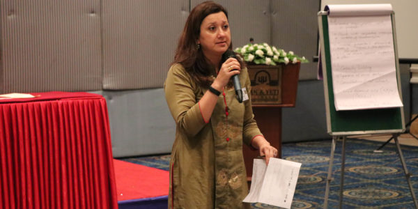 Nilu Basnyat (DAI/Paani Deputy Chief of Party) participates in a break-out session presentation.