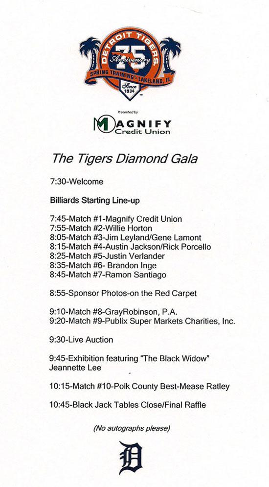 Detroit Tigers Diamond Gala agenda