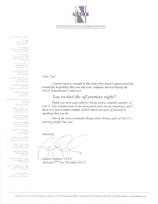NACE Catering Conference Letter