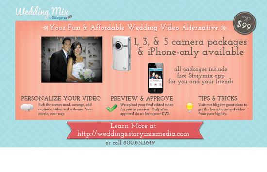 Back of Storymix wedding video postcard