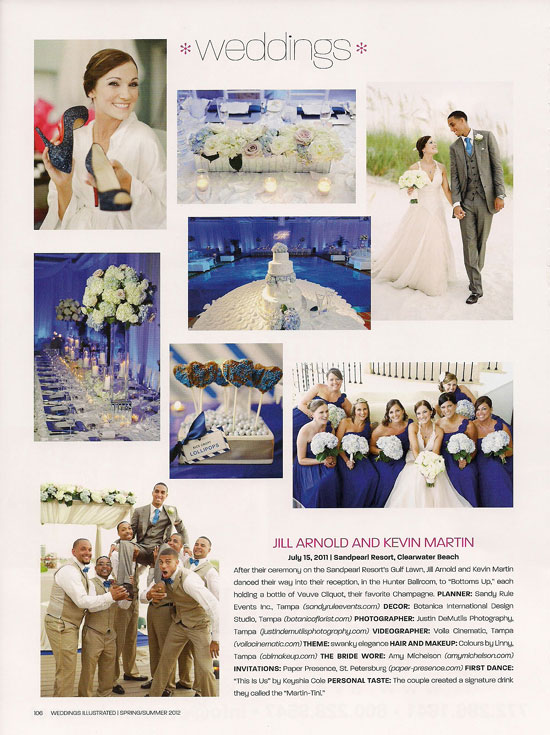 Weddings Illustrated article about Kevin Martin + Jill Arnold