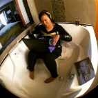 """FBF Flashback Friday...2013 reading Nile's memoir in a suite in Seattle, getting inspired to mix """"Chic Cheer"""" and """"Love Like This"""" by Faith Evans in an empty hot tub because I needed better sound and had no speakers. Nothing odd about that, right??? Hahahaha"""