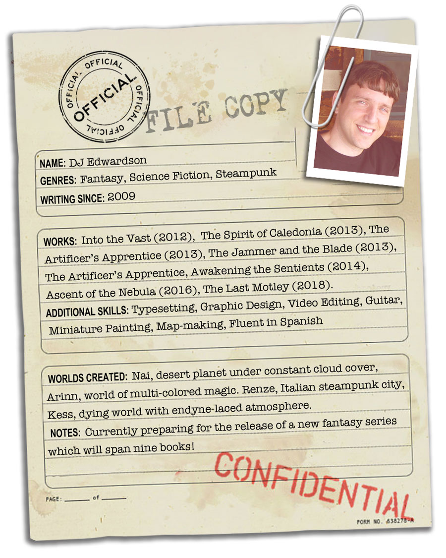 Author DJ Edwardson's fictional passport. He is both a traveler of worlds and creator of them