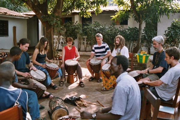 djembe workshop at Famoudou Konate's in Conakry, Guinea