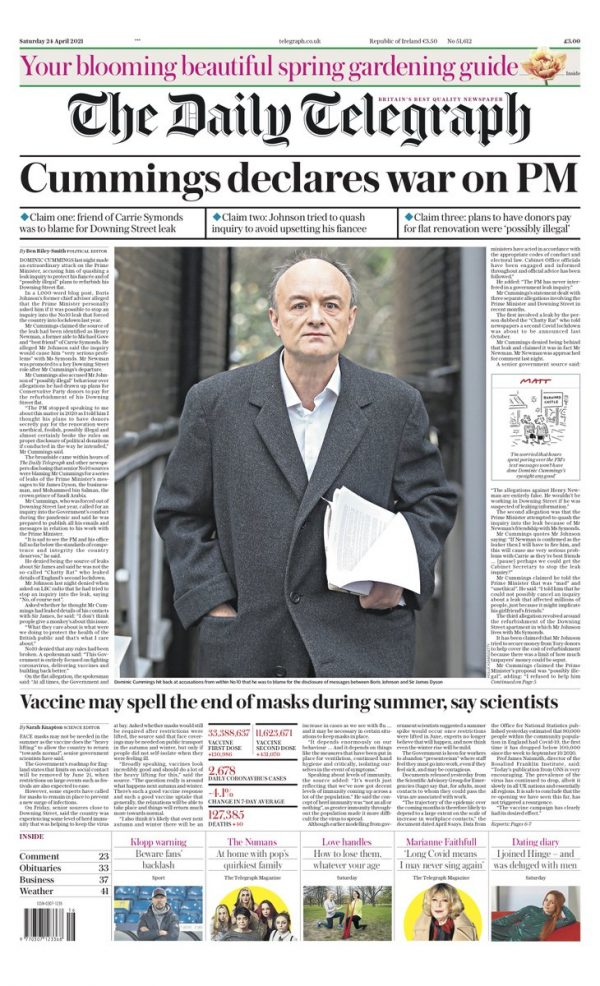 Daily Telegraph Front Cover