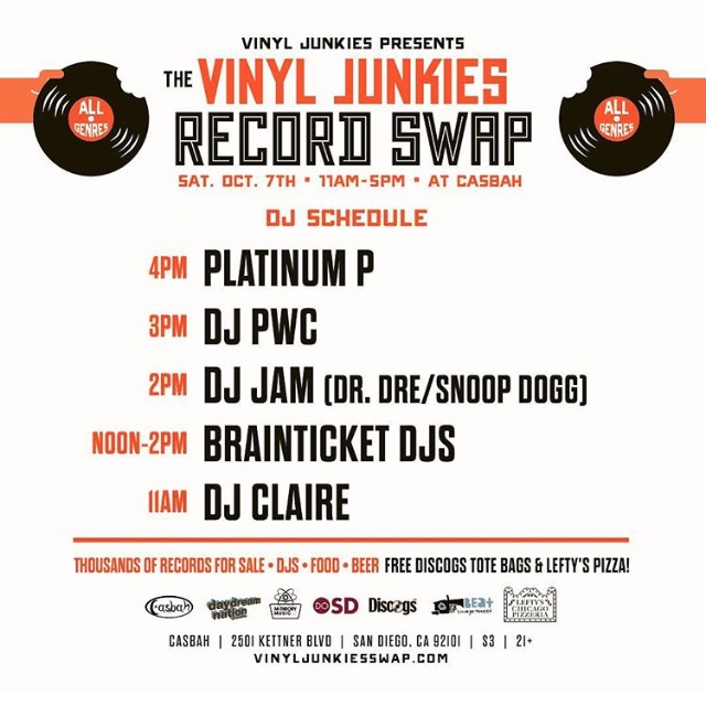 Vinyl Junkies Record Swap Meet - Saturday October 7th at the Casbah - San Diego,CA