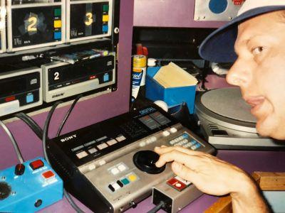 CD players with blue black door intercom, Pasadena cir. 1985