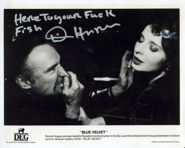 Dennis Hopper's autograph to Jed The Fish