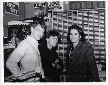 Michael Hutchence and Tim Farriss of INXS, with Jed The Fish