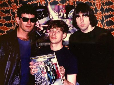 Ramones Dee Dee and Johnny with Jed The Fish, cir 83