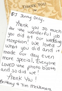 DJ/MC/Photobooth wedding Thank You note