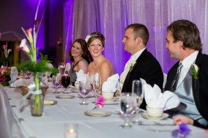 See how the uplighting brings out the colors on the head table.