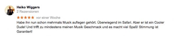 Kundenfeedback bei Google für DJ Jule - Hochzeit & Event DJ aus Hamburg
