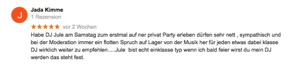 100% DJ Service mit DJ Jule - Hochzeit & Event DJ für die Region Hamburg - Kundenmeinungen DJ Jule