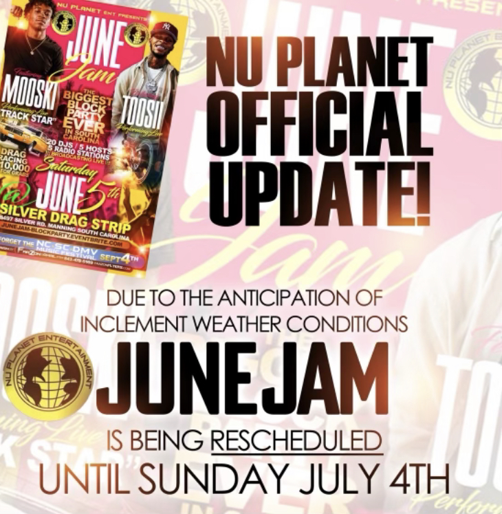 Nu Planet OFFICIAL UPDATE June Jam Has Been Reschedule to Sunday July 4th at the Silver DragStrip Manning, SC