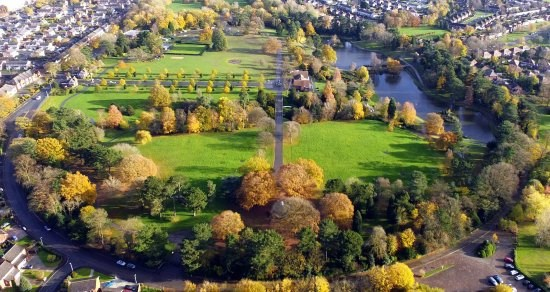 An aerial view of Queens Park in Crewe