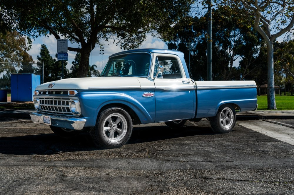 medium resolution of we were excited to find a 65 f100 short bed in very good shape somewhere in it s past it received a mustang gt 5 liter engine and transmission to make it