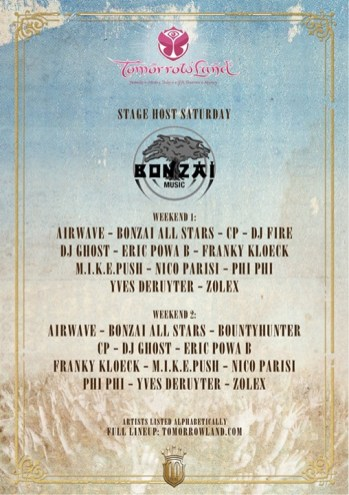 line up bonzai stage @ tomorrow land 2014