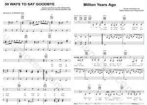 "The sheet music for both Train's ""50 Ways"" and Adele's ""Million Years Ago"""