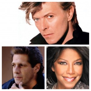 David Bowie (top), Glenn Frey and Natalie Cole