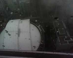 Rogers Centre from the glass floor of the CN Tower