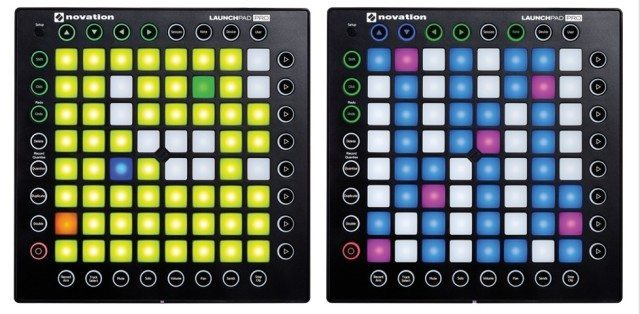 Launchpad Pro's Note Mode: full drum kit (left) and a complete chromatic keyboard (right)
