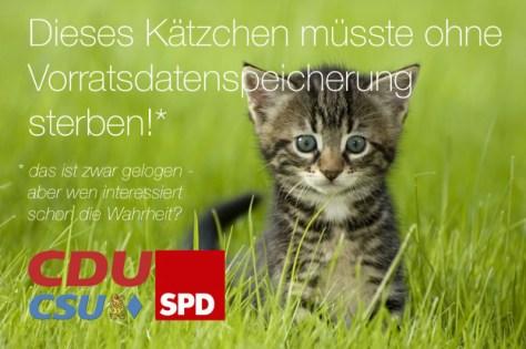 Vorratsdatenspeicherung Plakat Katze