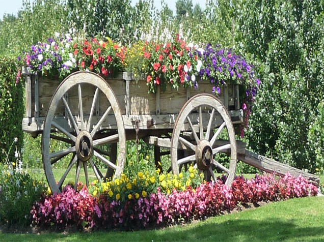 French Flower Wagon for canvas