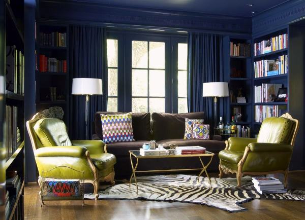 Navy Blue and Brown Living Room