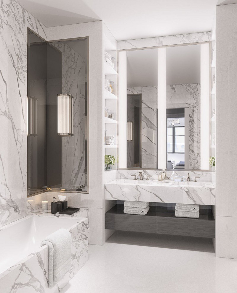 Grey And White Marble Bathroom